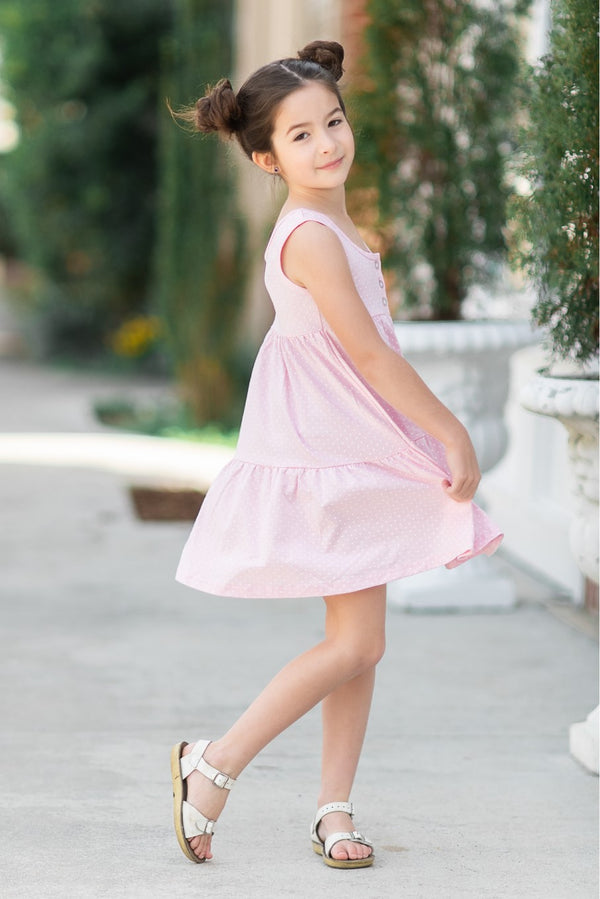Brinley Dress - Pink Dot - Madison Grace Clothing