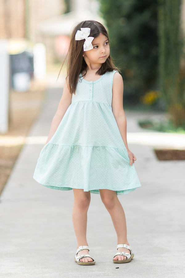 Brinley Dress - Aqua Dot - Madison Grace Clothing