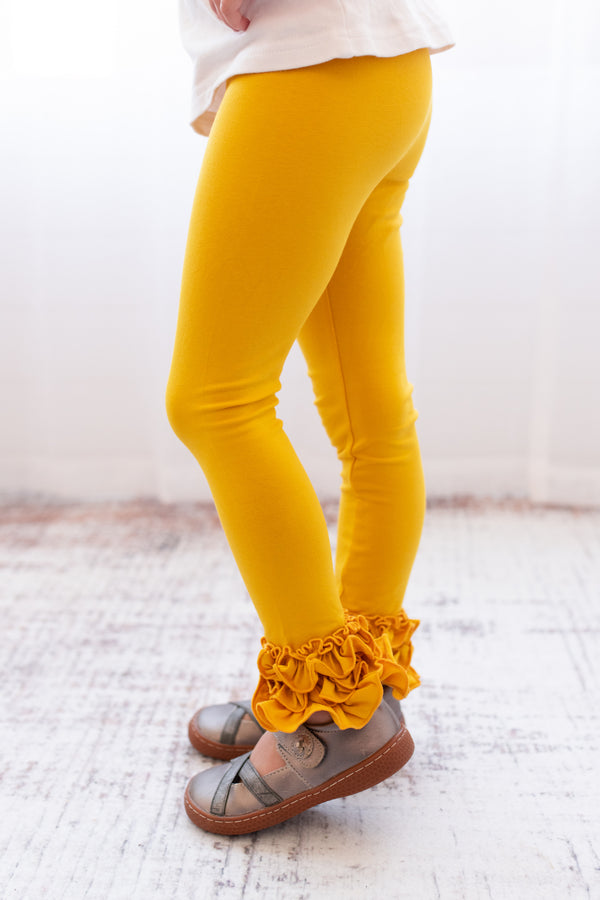 Ruffle Leggings - Mustard