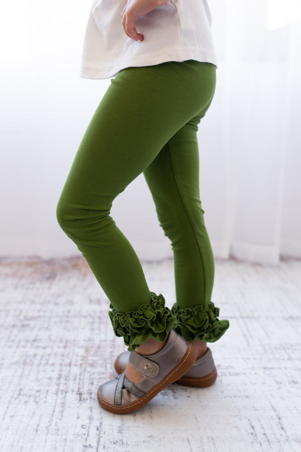 Ruffle Leggings - Olive