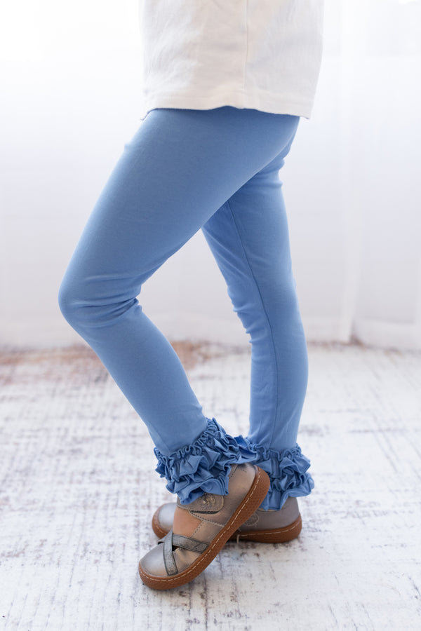 Ruffle Leggings - Cornflower
