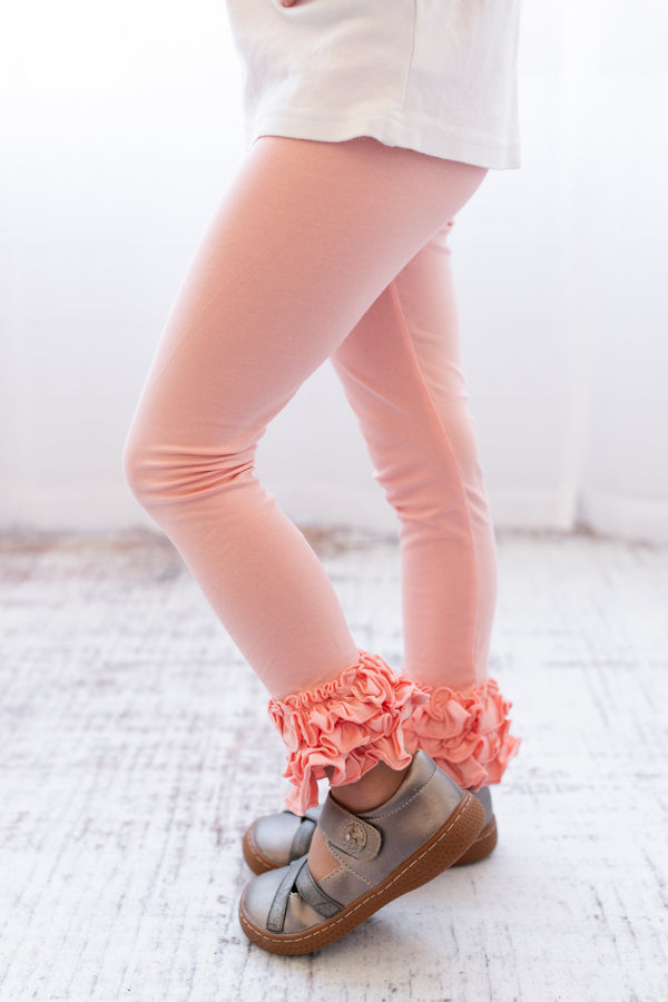 Ruffle Leggings - Peach