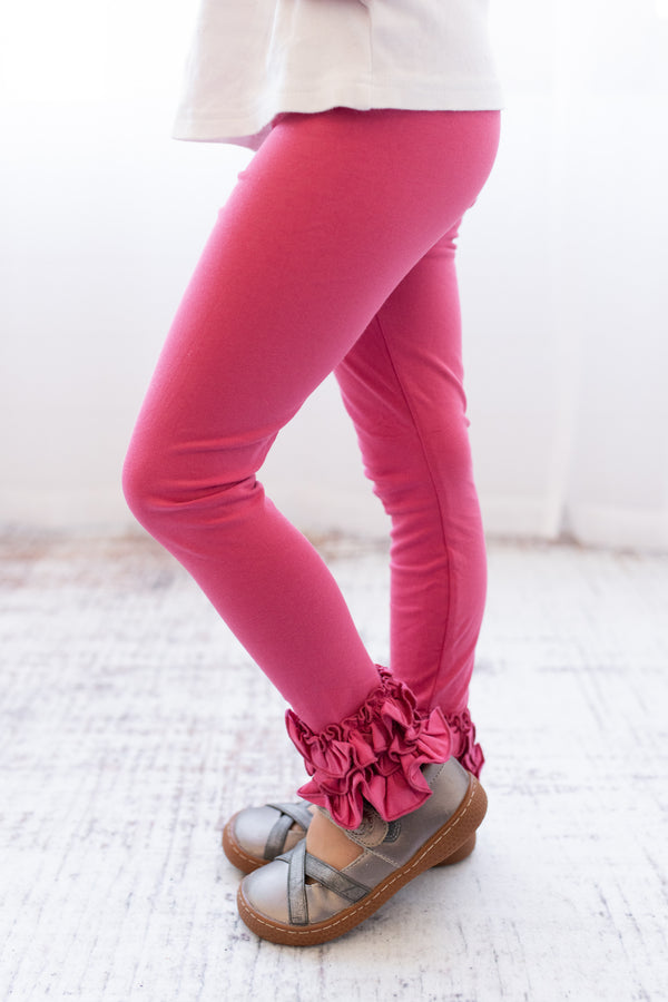 Ruffle Leggings - Dusty Rose