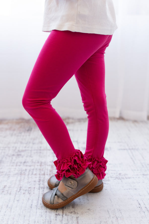 Ruffle Leggings - Raspberry