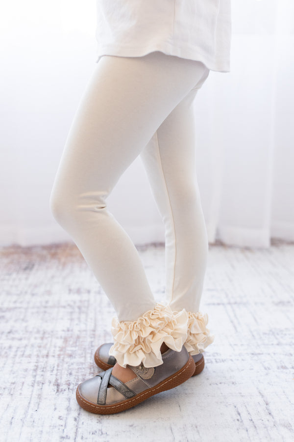 Ruffle Leggings - Cream