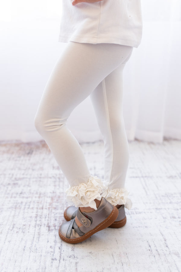 Ruffle Leggings - Soft White