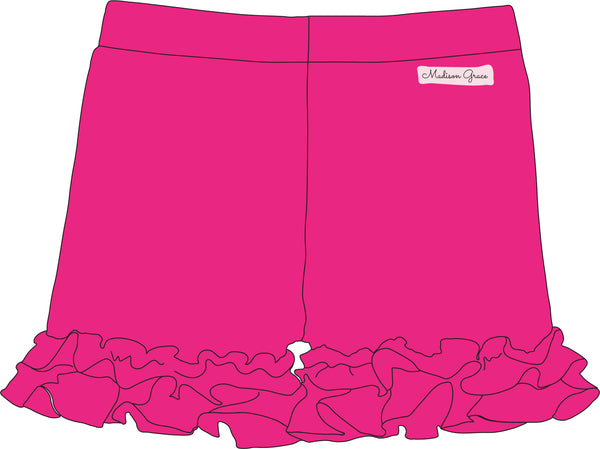 Ruffle Shorties - Hot Pink - Madison Grace Clothing