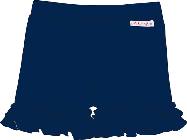Ruffle Shorties - Navy - Madison Grace Clothing