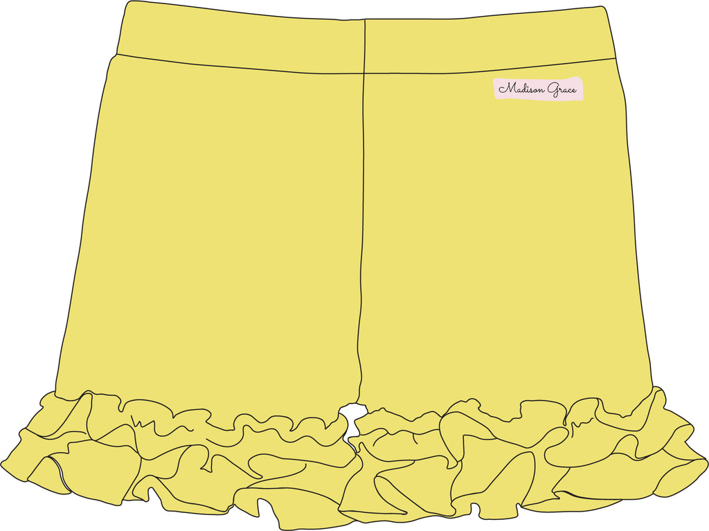 Ruffle Shorties - Yellow - Madison Grace Clothing