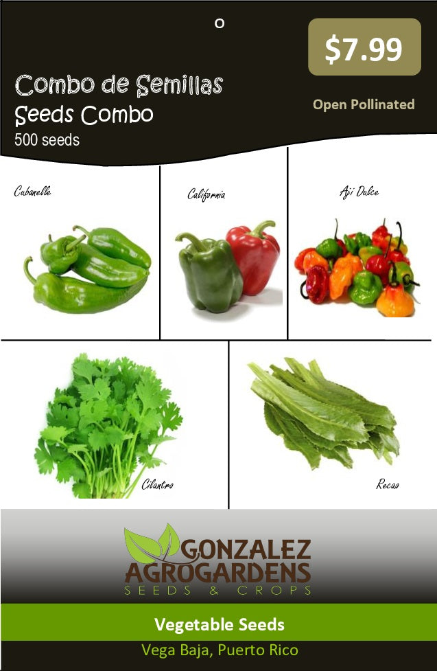 Seeds Combo - 5 variety (culantro-coriander + 3 differents peppers)