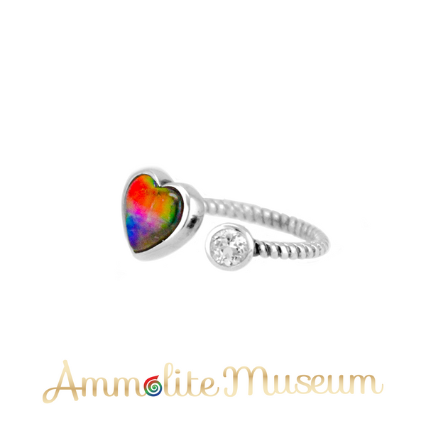 Sterling Silver Heart Ammolite Ring