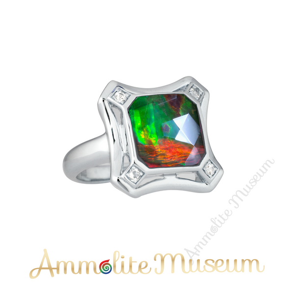 Sterling Silver Square Ammolite Ring
