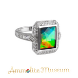 Sterling Silver Rectangle Ammolite Ring