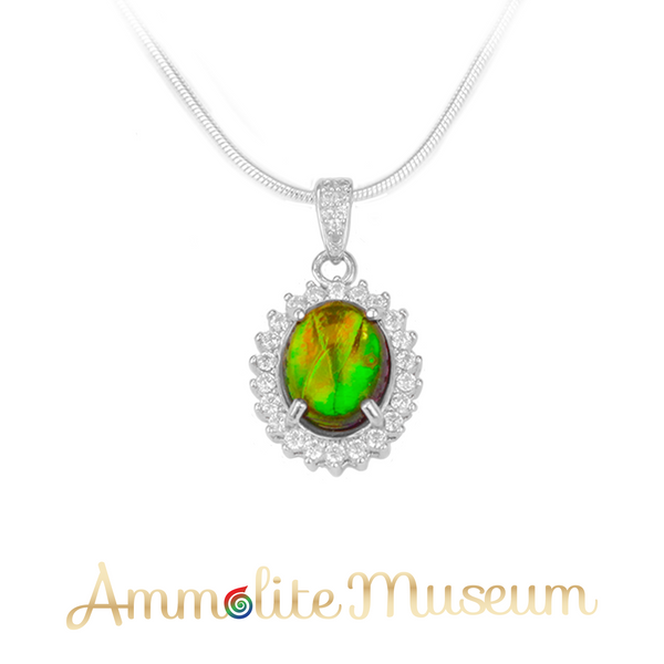 Sterling Silver Ammolite Pendant with Cubic Zirconia