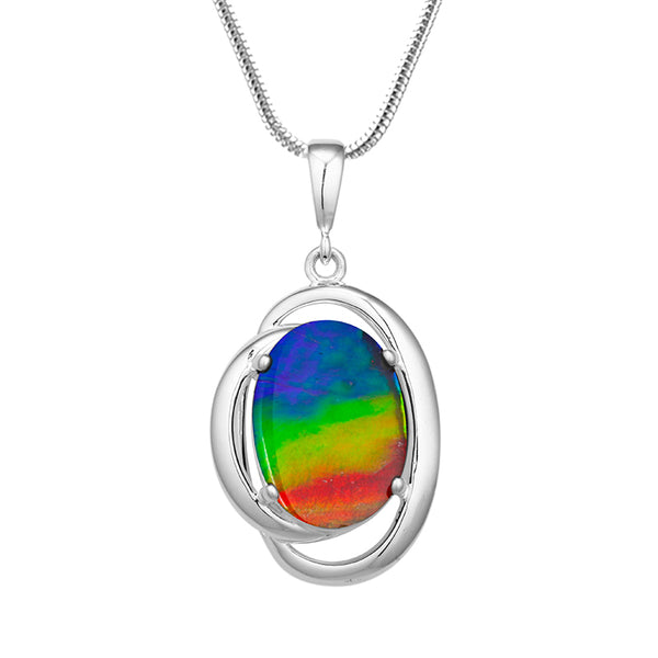 Harmony Sterling Silver Ammolite Pendant (M)