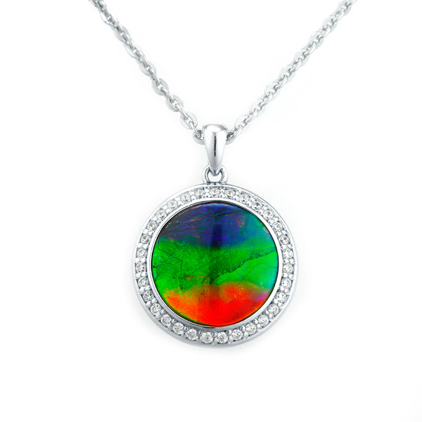 Aurora 14mm Sterling Silver Round Pendant with Swarovski Crystals