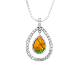 Sterling Silver Teardrop Ammolite Pendant with Swarovski Crystals
