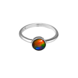 Round 6mm Sterling Silver Ammolite Ring