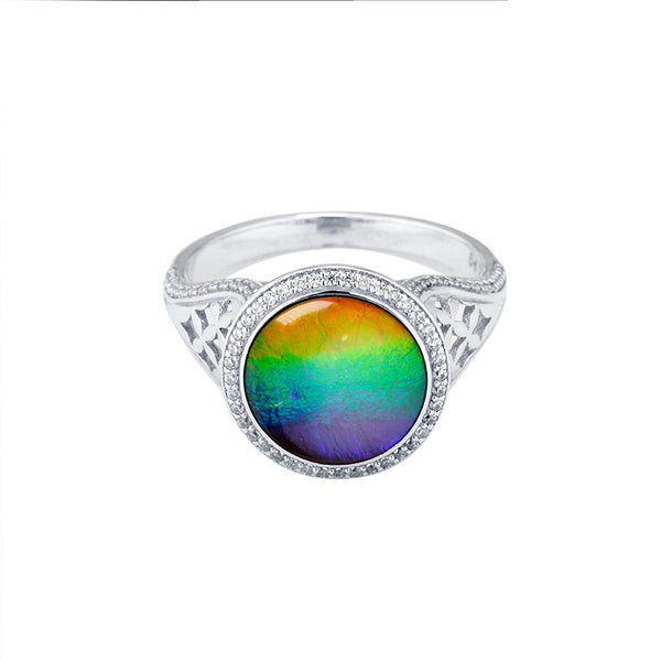 Aurora Sterling Silver Round Ring with Swarovski Crystals