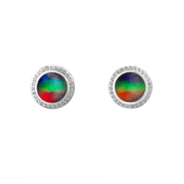 Aurora 7mm Sterling Silver Round Earring with Swarovski Crystals