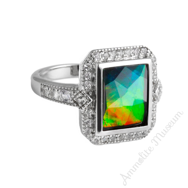 Rectangle Sterling Silver Ammolite Ring