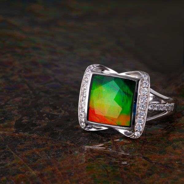 Square Sterling Sliver Ammolite Ring