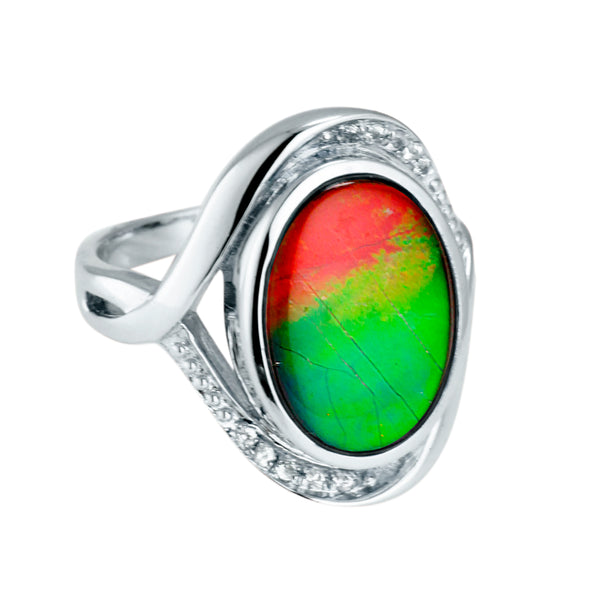 Oval Sterling Sliver Ammolite Ring