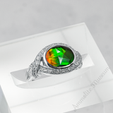 Sterling Silver Oval Ammolite Ring