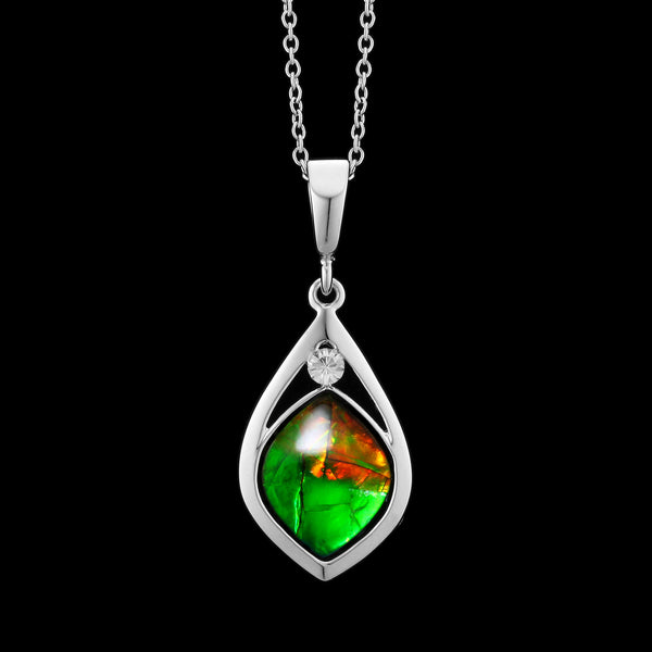 Aurora Sterling Silver Marquise Pendant with Swarovski Crystal