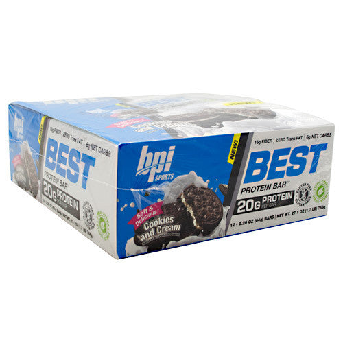 BPI Best Protein Bar - Cookies and Cream - 12 Bars - 811213024796