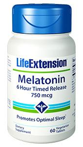 Melatonin 6 Hour Timed Release | 750 mcg, 60 vegetarian tablets