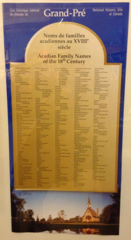 Poster - Affiche Acadian Family Names of the 18th Century