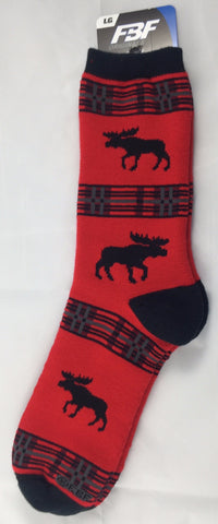 Cotton Socks: Moose Plaid