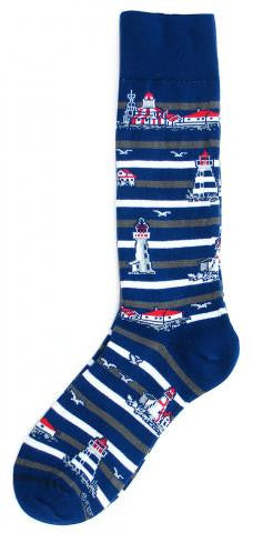 Cotton Socks: Lighthouses Thin Stripe