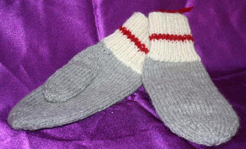 Wool Mittens: Worksock traditional haze/eru/cherry combo colour