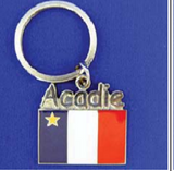 Keychain: Acadian Flag with Acadie Writing