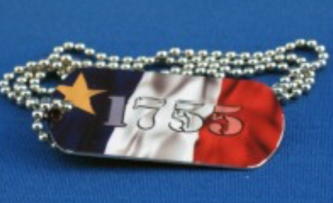 Dog Chain: Acadian Flag with 1755