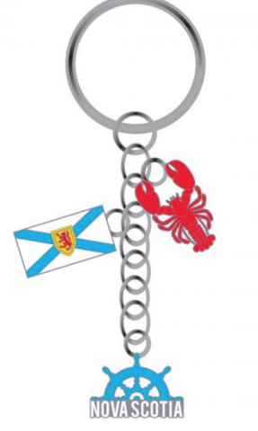 Keychain: Nova Scotia Flag with Lobster and Wheel