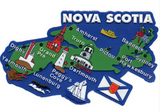 Magnet: Nova Scotia Map with Icons and Blue Background