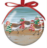 Ornament: Ball Sandpipers at Christmas