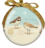 Ornament: Ball Sandpiper with Gold Ribbon