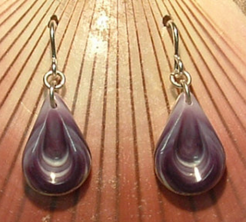 Earrings Wampum E22 Indented Teardrop: Hand carved by Acadian Artist Marci Poirier