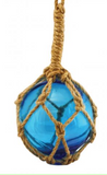 Ornament: Glass Float w/Rope Assorted Colours
