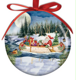 Ornament: Ball Santa in Birchbark Canoe