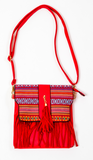 Canvas Bag: Red Native Cross Body