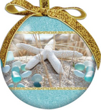 Ornament: Ball Beach Walk Sea Glass with Gold Ribbon