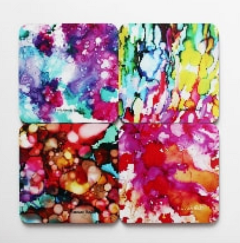 Coasters: Wild and Free (Abstract) Local Art by Hannah Hicks