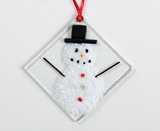 "Fused Glass Ornament: Snow Man 3"" Square Handmade in Nova Scotia"