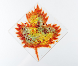 "Fused Glass Ornament: Maple Leaf 3"" Square Handmade in Nova Scotia"