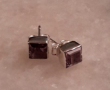 Amethyst Stud Square Earrings: E56